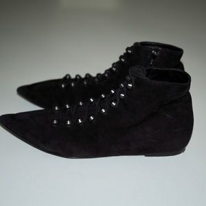 Balenciaga Shoes - Balenciaga Suede Pointed Lace-Up Ankle Booties